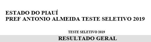 Lista de Aprovados no Teste Seletivo de Antônio Almeida