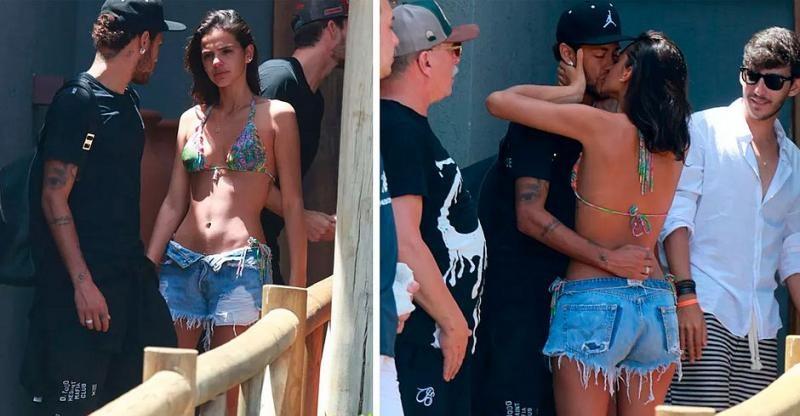 Com beijos e choro, Bruna Marquezine se despede de Neymar