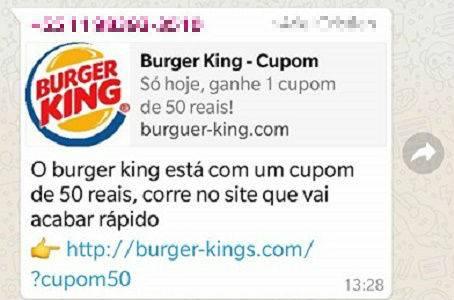 Golpe no WhatsApp com cupom falso do Burger King volta a circular