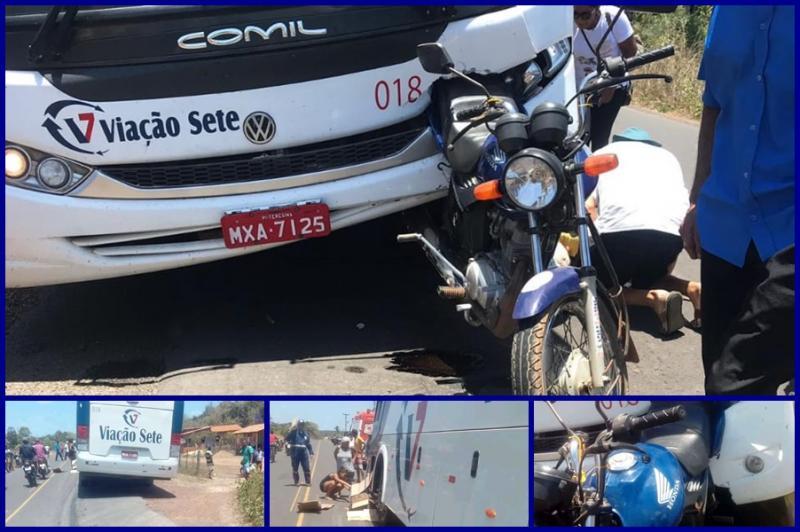 Acidente entre motocicleta e ônibus causa morte de idoso no Piaui