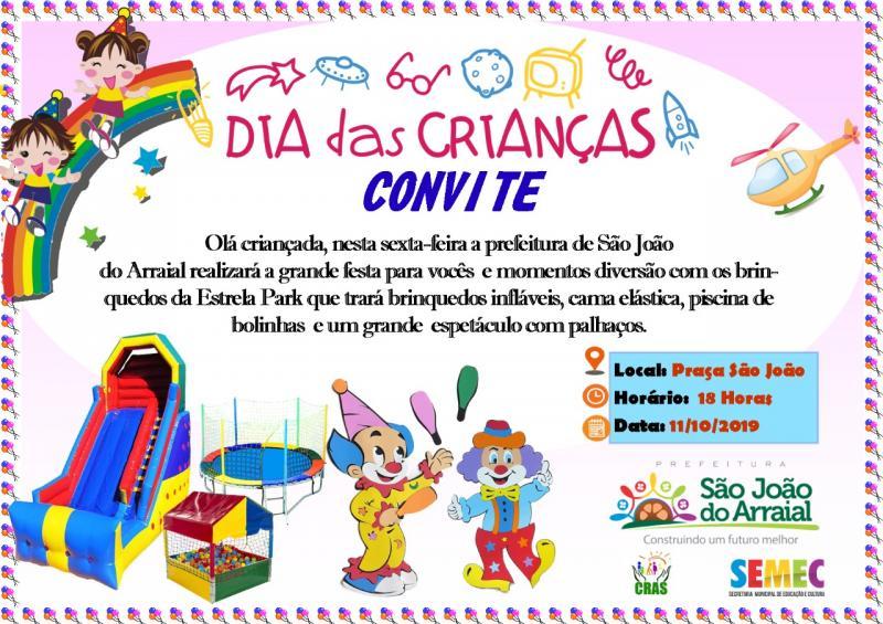 Prefeitura de São João do Arraial realizará festa para as crianças