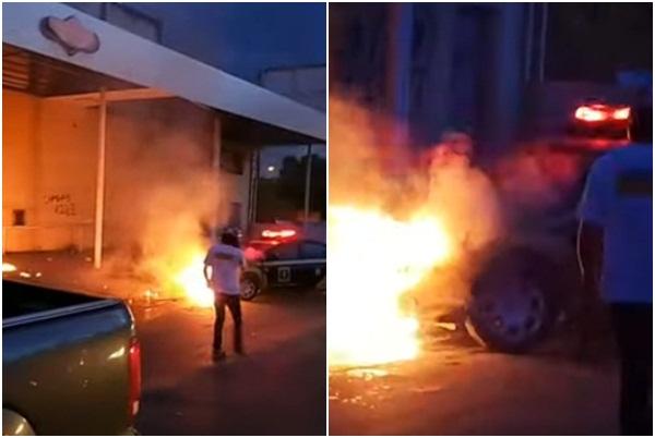 Carro da Strans pega fogo na zona sul de Teresina