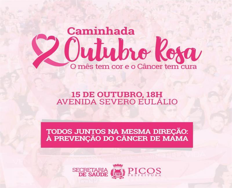Saúde realiza caminhada de conscientização ao Outubro Rosa