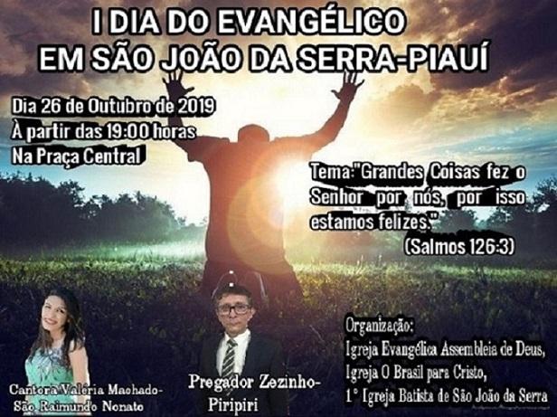 Evento no dia do evangélico fará de São João da Serra capital gospel