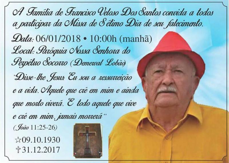Familiares de demervalense convidam para 'Missa de sétimo dia'