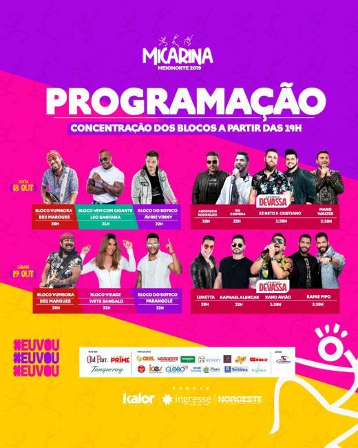Confira a programação oficial da Micarina em Teresina