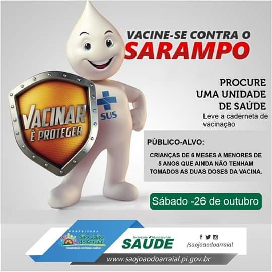 Dia D de vacinação contra o sarampo será no próximo sábado (26)