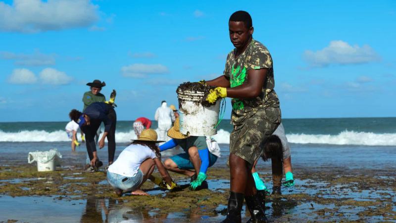 Voluntários usam materiais de jardinagem para recolher óleo
