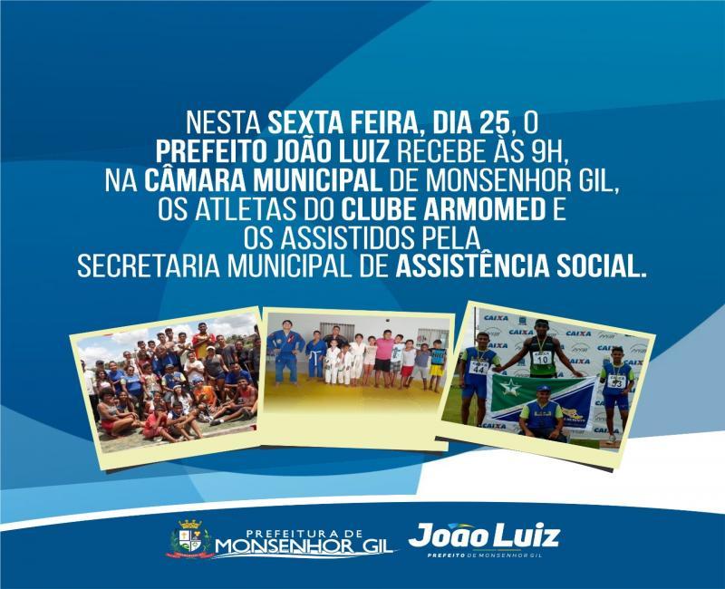 Prefeito receberá atletas na Câmara Municipal de Monsenhor Gil