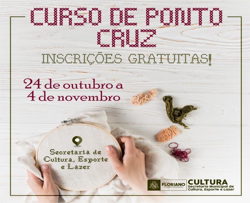 Secretaria de Cultura abre inscrições para Curso de Ponto Cruz em Floriano