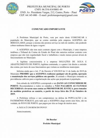 Prefeitura de Porto comunica à população sobre contas irregulares emitidas