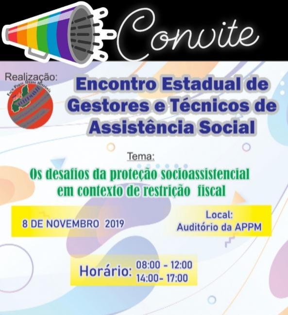Encontro de Gestores e Técnicos de Assistência Social acontece sexta (08)