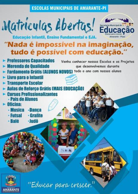 Secretaria Municipal de Educação de Amarante divulga abertura de matrículas escolares