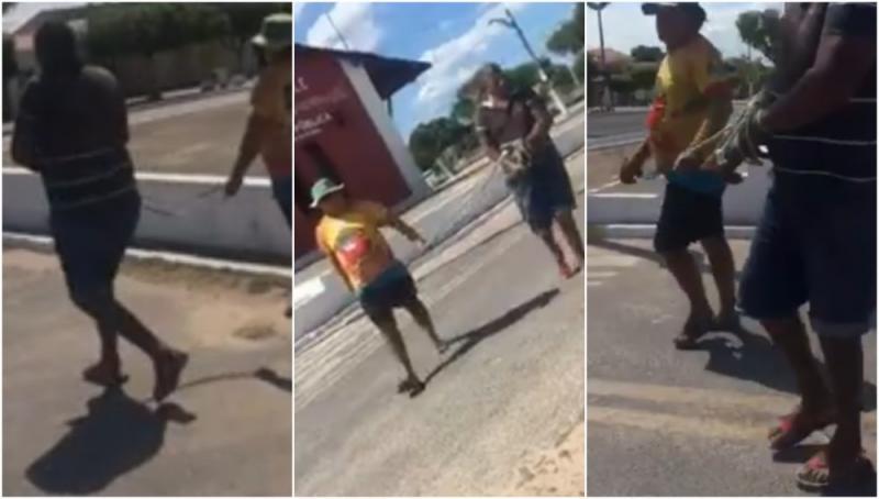 Homem é amarrado e levado a polícia após gastar dinheiro da mulher