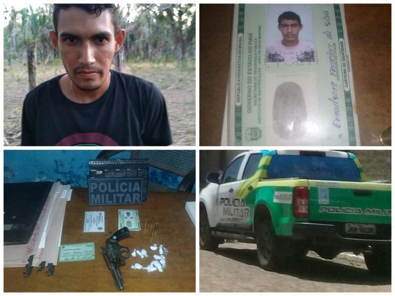 Homem é preso em flagrante em São João do Arraial com drogas e arma de fogo