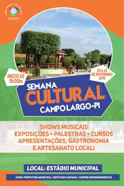 Semana Cultural de Campo Largo-PI - Confira à programação