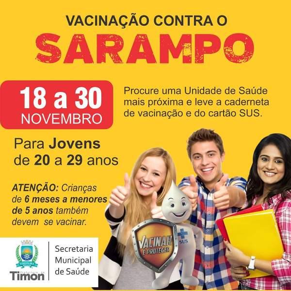 Vacinação contra Sarampo para jovens de 20 a 29 anos inicia nesta segunda