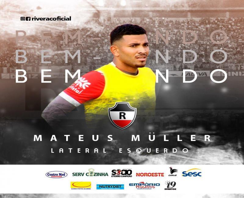 River-PI anuncia contratação do lateral-esquerdo Mateus Müller