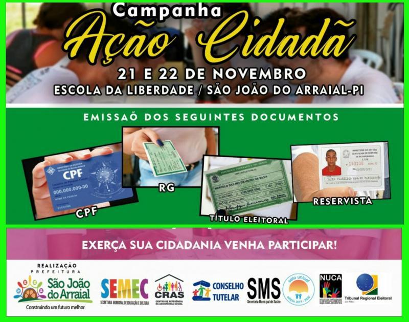 Ação cidadã emitirá documentos gratuitamente em São João do Arraial