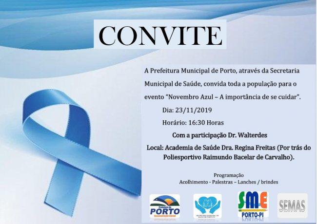 """Secretaria de Saúde de Porto realizará evento do """"Novembro Azul"""""""