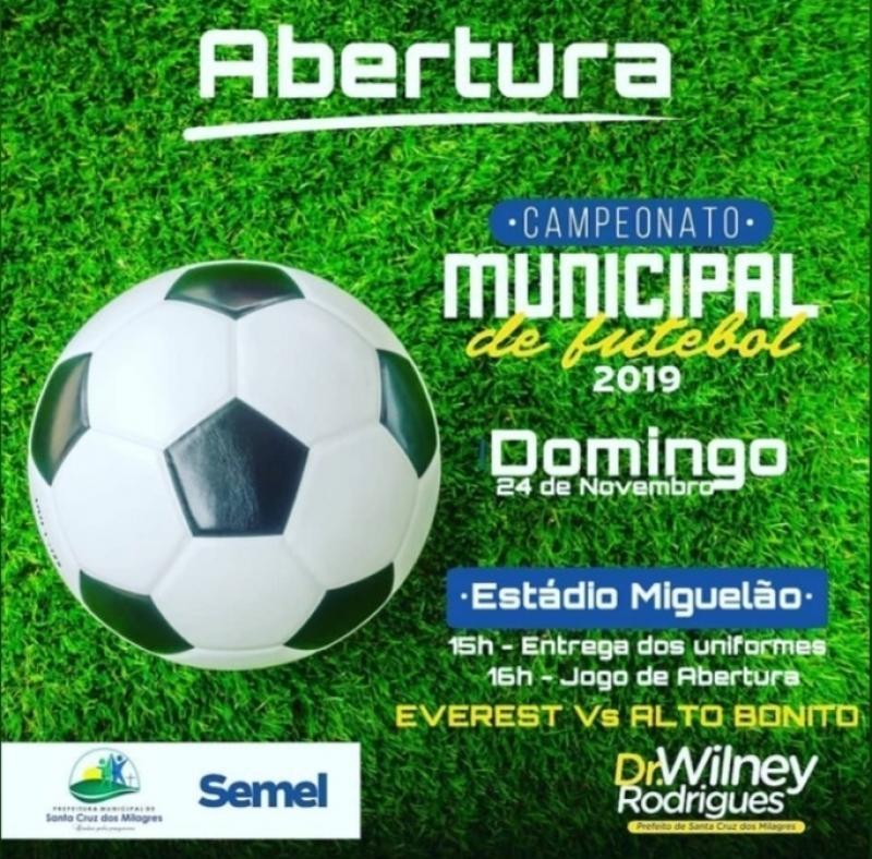 Prefeitura convida a todos para abertura do Campeonato Municipal de Futebol