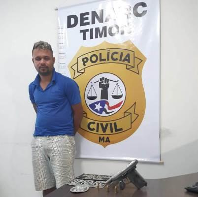 Denarc/Timon prende 'Kêza' portando uma pistola 380 municiada