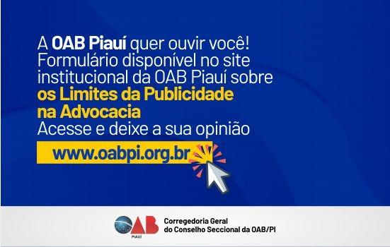 OAB PI disponibiliza formulário sobre 'Limites da Publicidade na Advocacia'