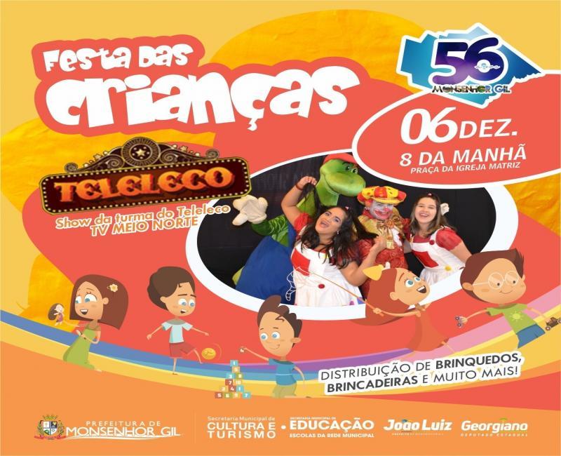 Monsenhor Gil | Prefeitura realizará a 'Festa das Crianças' no sábado (6)