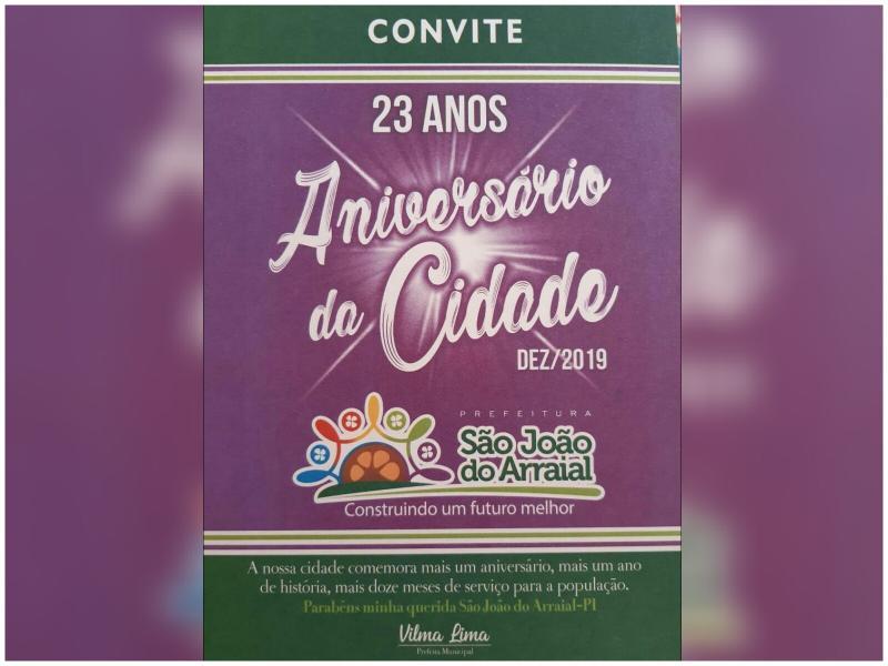 Programação do aniversário de emancipação política de São João do Arraial