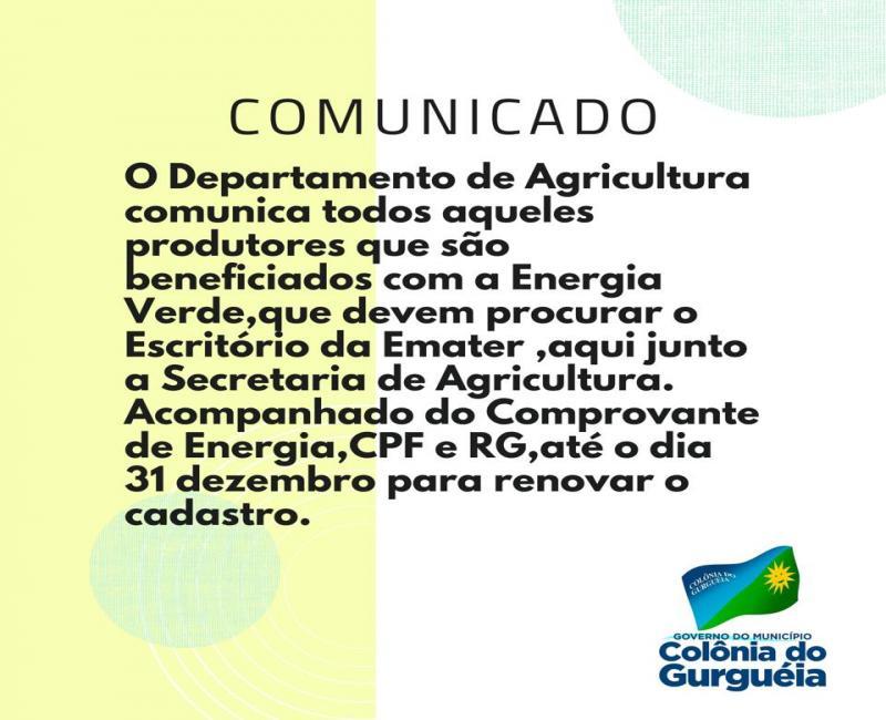 Colônia do Gurgueia   Comunicado para os beneficiados com a Energia Verde