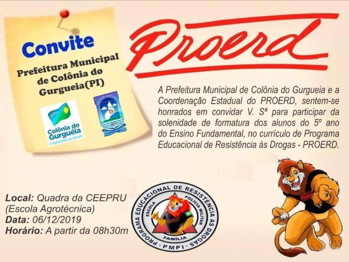 Prefeitura convida todos para solenidade de formatura dos alunos do PROERD