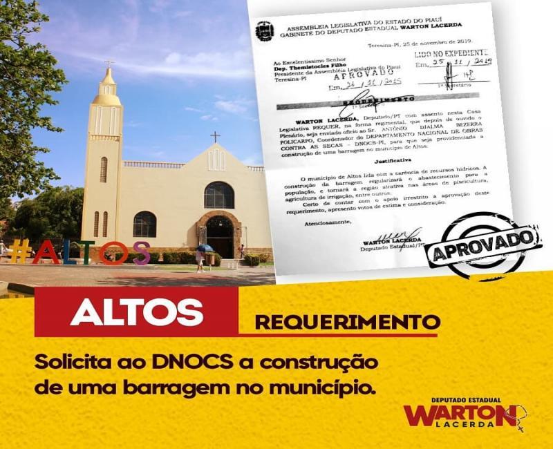 Warton Lacerda solicita ao DNOCS construção de barragem em Altos