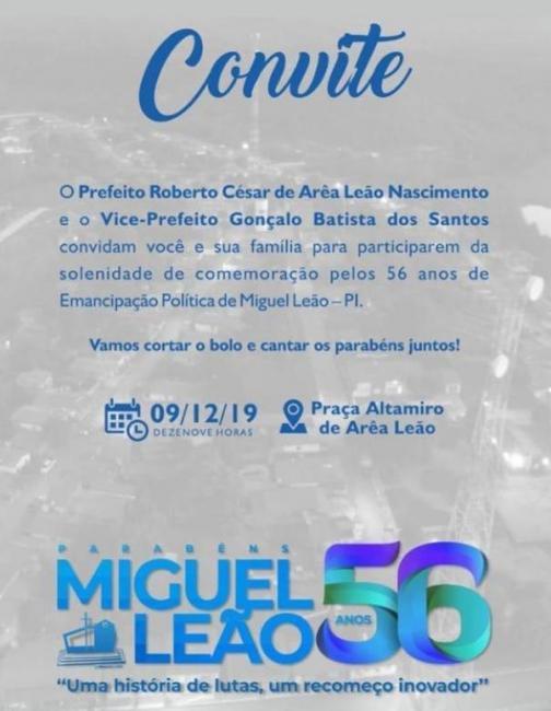 Prefeito de Miguel Leão convida para o corte do bolo de 56 anos da cidade