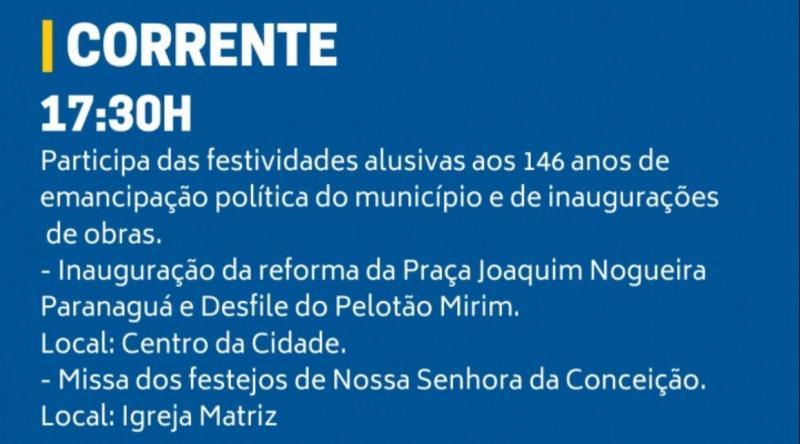 Ciro Nogueira acompanhará as festividades de aniversário de Corrente