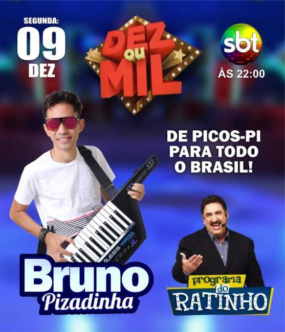 Cantor Picoense Bruno Pizadinha se apresentará no programa do Ratinho