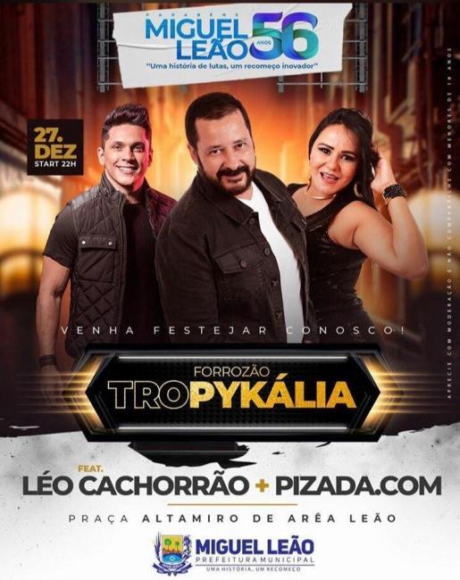 Prefeito confirma evento com a banda Forrozão Tropykália em Miguel Leão