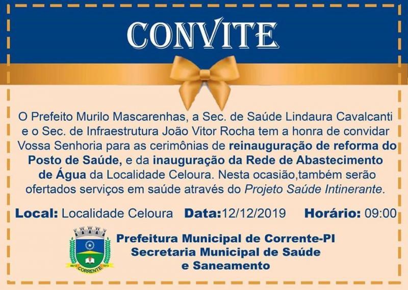 Corrente |Prefeitura convida população para reinauguração do Posto de Saúde