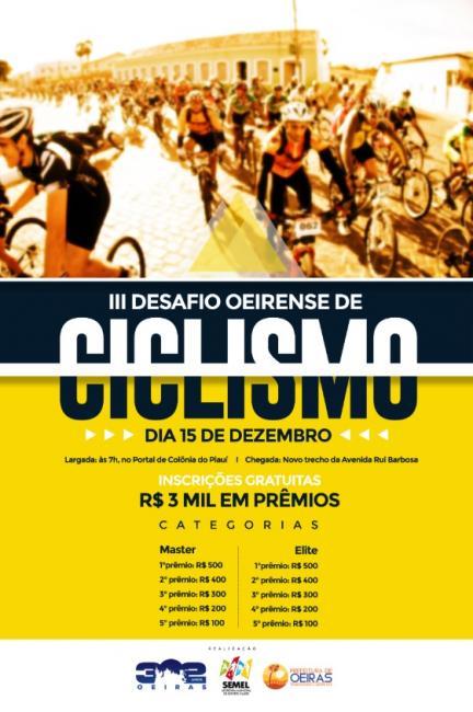 Oeiras| III Desafio Oeirense de Ciclismo acontece neste domingo (15)