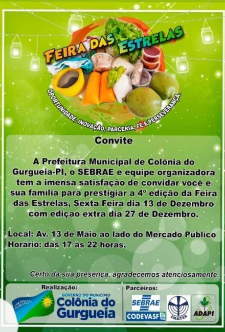 Colônia do Gurguéia | Prefeitura convida a todos para Feira das Estrelas