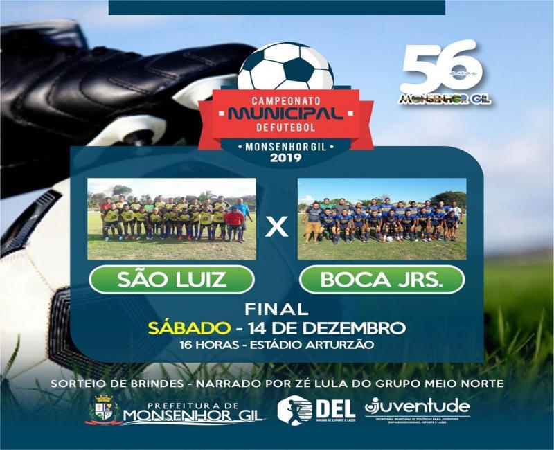 Prefeitura de Monsenhor Gil divulga partida final do Campeonato Municipal