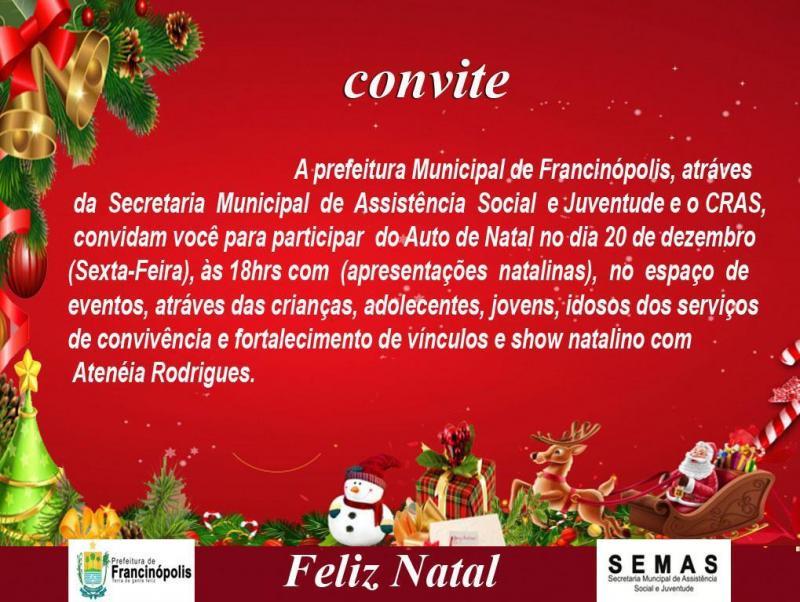 Prefeitura de Francinópolis convida a todos para o Auto de Natal