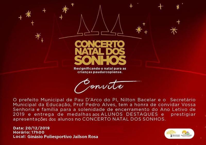 Pau D'arco   Prefeitura convida para solenidades do fim do ano letivo 2019