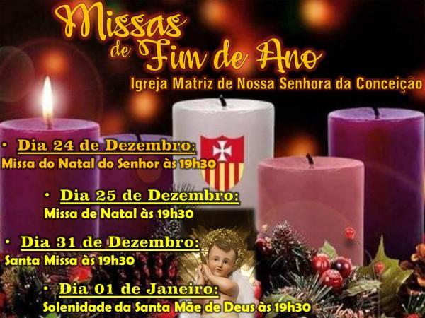 Corrente | Paróquia Nossa Senhora da Conceição divulga missas de fim de ano