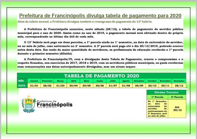 Prefeitura de Francinópolis divulga calendário anual de pagamento