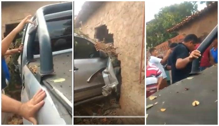 Vídeos: Amarok perde o controle e invade casa na margem da BR 226 em Timon