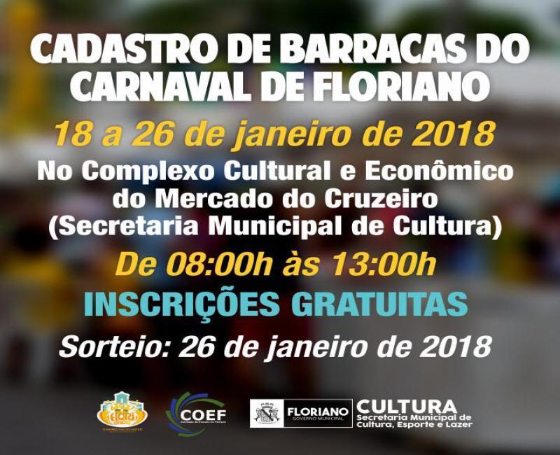 Estão abertas as inscrições para barracas no carnaval de Floriano