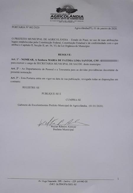 Agricolândia | Prefeito nomeia nova secretária municipal de Saúde