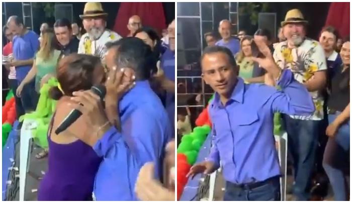 Autor do hit 'Caneta Azul' é agarrado e beijado em show
