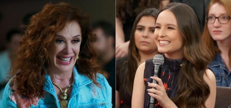 Claudia Raia em Verão 90, da Globo, e Larissa Manoela no Altas Horas; atrizes serão mãe e filha em novela. - Foto: Reprodução/Globo e Reprodução/SBT.