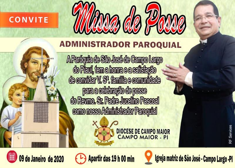 Missa de Posse do Pe. Jucelino neste quinta-feira (9), em Campo Largo-PI